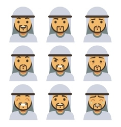 Traditional arab man emotion faces including vector image vector image