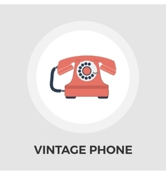 Vintage phone flat icon vector image