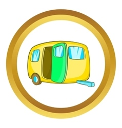 Yelllow camping trailer icon vector image vector image