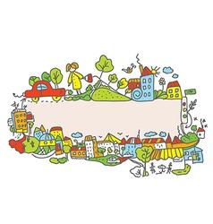 City frame for children vector image vector image