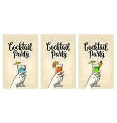green blue and red cocktail with slice pineapple vector image