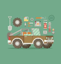 Off road car with icons isolated on color vector