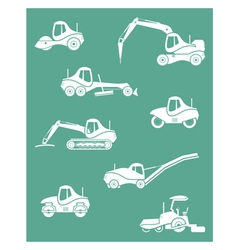 Silhouette of road machinery vector image