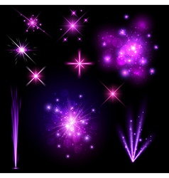 Festive purple firework set vector image