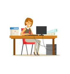 smiling businesswoman character in a suit working vector image vector image