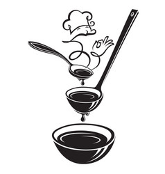 spoon ladle plate and steam vector image
