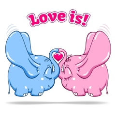 winged baby elephant in love on white vector image
