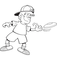 Cartoon boy throwing a flying disc vector image