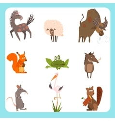 Domestic and wild animals set vector