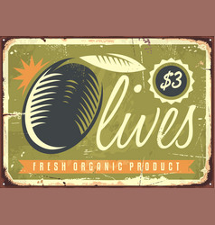fresh organic olives retro sign vector image vector image