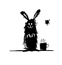 Funny rabbit black silhouette Sketch for your vector image