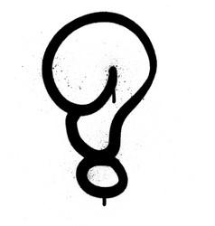 graffiti bubble question mark in black on white vector image vector image