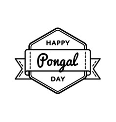 happy pongal day greeting emblem vector image