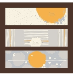 Set of horizontal hand drawn banners decorated vector image