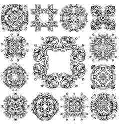 Set of vintage geometric ornaments vector image