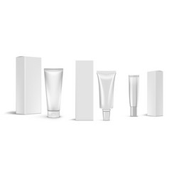 3d cosmetic products tube package with boxes vector