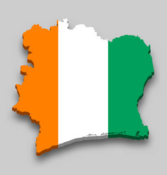 3d isometric map ivory coast with national flag vector