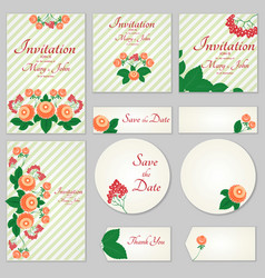 a set of invitations with ornament in the slavic vector image