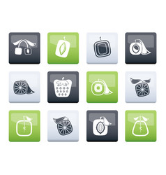 Abstract square fruit icons over color background vector