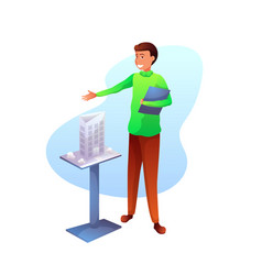 Architect presenting building model flat character vector