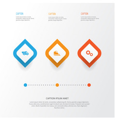 architecture icons set collection of cogwheel vector image