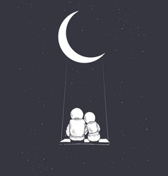 Astronaut girl and boy sits on swing vector