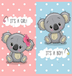Baby shower greeting card with koalas boy and girl vector