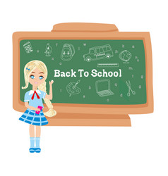 Back to school - card with a charming student vector