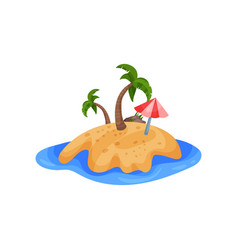 beautiful tropical island and umbrella vector image