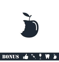 Bite apple icon flat vector image