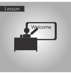black and white style icon of table board teacher vector image