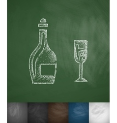 Bottle and glass icon Hand drawn vector