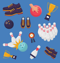 Bowling game pattern on blue background vector