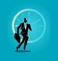 businessman running on clock background vector image