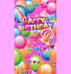 card with birthday party elements vector image
