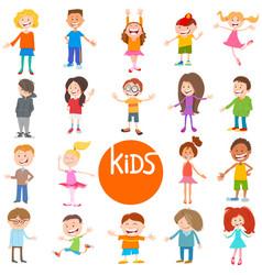 Cartoon children and teen characters set vector