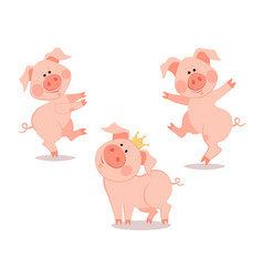 Cartoon dancing little pig the year of the pig vector