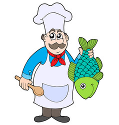 chef holding fish vector image