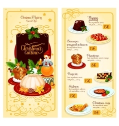 Christmas cuisine restaurant menu template design vector