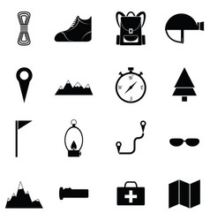 climbing icon set vector image
