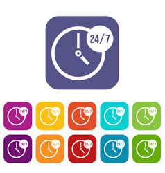 Clock 24 7 icons set vector