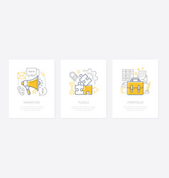 Company strategy - line design style icons set vector
