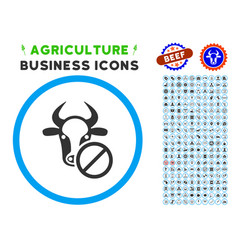 Cow forbidden rounded icon with set vector