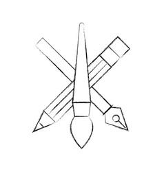 creativity design artistic tools pencil brush and vector image