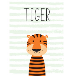 cute little tiger poster card for kids vector image