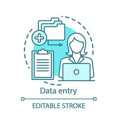 Data entry concept icon typist transcriber clerk vector