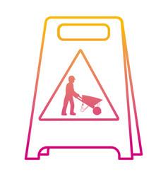 Degraded line plastic caution emblem and laborer vector