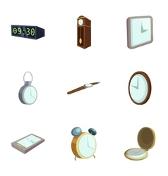 Different watches icons set cartoon style vector