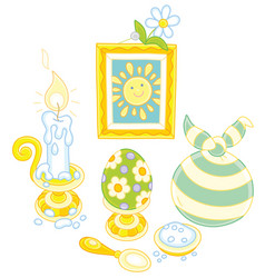 Easter collection with a smiling sun vector