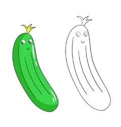 Educational coloring book cucumber vector